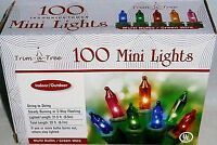 Christmas 100 Ct Mini Light Set Lights String To String Connection Green Wire