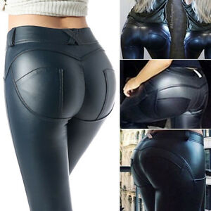 951e745c3a255 Image is loading Womens-Faux-Leather-PU-Leggings-Elastic-Shaping-Hip-