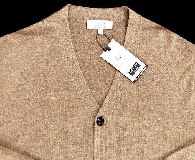 Men's TURNBURY Tan Khaki Heather Merino Wool Cardigan Sweater 2XB 2X 2XL BIG NWT