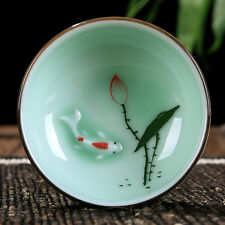 tea cup Longquan celadon cup 70ml Hand-painted Lotus fish mug good quality green