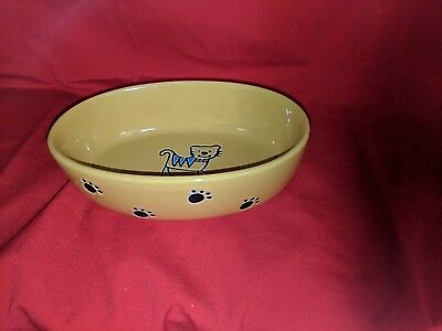 "Amiable Petrageous Designs Silly Kitty 6.50"" Oval Pet Bowl In Design; Yellow Novel"
