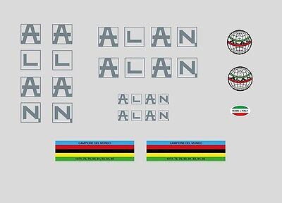 White//Silver 0693 Alan Bicycle Stickers Decals Transfers