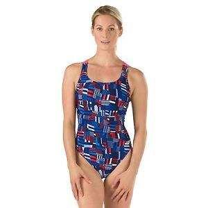 SPEEDO-Women-039-s-Pro-LT-Trippy-Stripe-Drop-Back-One-Piece-Swimsuit