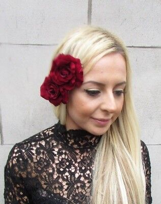 Double Burgundy Wine Deep Red Rose Flower Hair Clip Fascinator Wedding 40s 5757