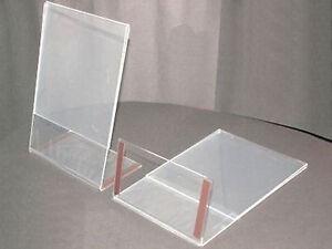10-DIN-A-5-AUFSTELLER-GEBRAUCHT-PLEXI-PREISSCHILD-MIT-MAGNETSTREIFEN-AM-FUss-GLAS