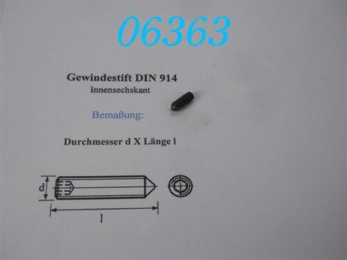 DIN 914 10 x GEWINDESTIFT  M 6 x 16