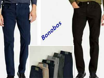 New Mens Bonobos Jeans Pants size 35//36 slim straight dark wash button front