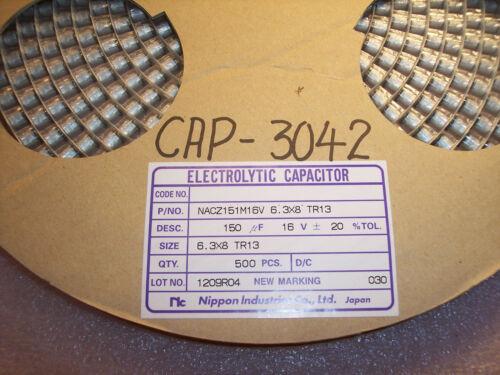 150uf 16V 105/' SMD ELECTROLYTIC CAPACITORS NACZ151M16V6.3X8TR13 NIC QTY 50