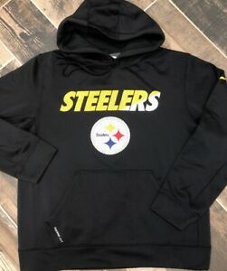 new style 6b52c cb1b0 Details about Nike Therma Fit Hooded SweatShirt NFL Pittsburgh Steelers  Black Medium