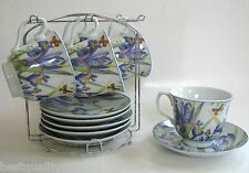 NEW 12 PC SET PORCELAIN IRIS FLOWER+BUTTERFLY TEA,COFFEE MUG,CUP+SAUCER,PLATE