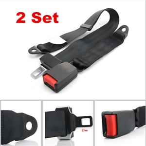 2X Car Seat Belt Lap 2 Point Safety Travel Adjustable Retractable Auto Universal