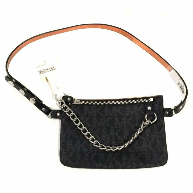 79d61fe4221f Michael Kors Pull Chain Belt Bag Fanny Pack MK Signature Logo NEW WITH TAG