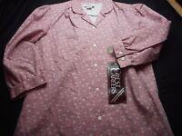 Crest Careers Pink Floral Uniform Vintage Small Women's Shirt
