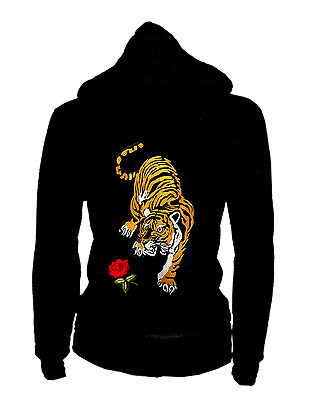 WOMENS SAY WHAT TIGER WITH ROSES HOODIE NWT LG
