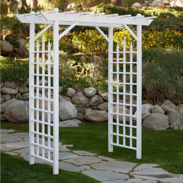 Merveilleux White Garden Arbor Arch Pergola Gate 7 Foot Vinyl Bridal Trellis Yard  Wedding