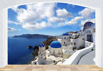 WALLPAPER MURAL PHOTO Santorini Greece coast GIANT WALL DECOR Seaside + Badge