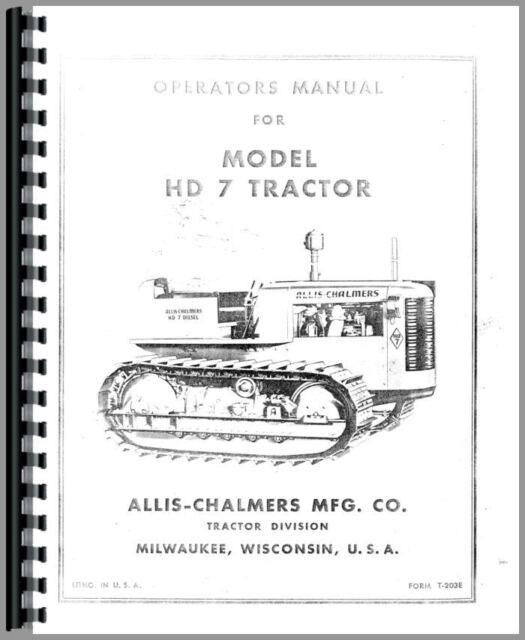 Allis Chalmers Hd7 Crawler Operators Manual