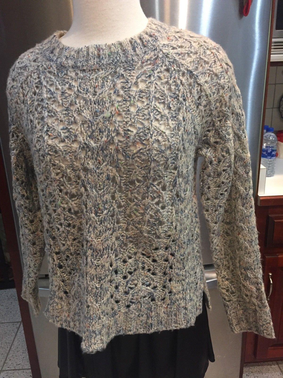 Zaria Women's Sweater SZ S Multi-color blueE BEIGE OPEN KNIT SLIT SIDES