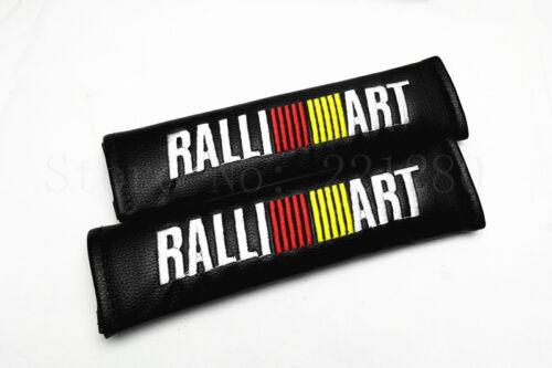 2Pcs Ralli Art Black Leather Seat Belt Shoulder Pads Cushion For Car Safety Belt