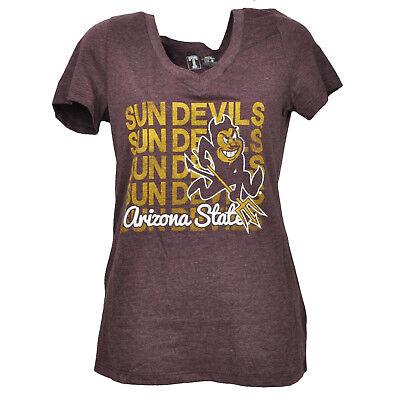 Sport Vornehm Ncaa Arizona Sun Devils Repeat Logo Kurzärmelig T-shirt Damen Burgunderrot Das Ganze System StäRken Und StäRken