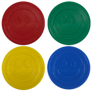 EMBOSSED-PLASTIC-TOKENS-SMILE-FACE-SCHOOL-PARTY-EVENT-REWARD-DEPOSIT-COUNTERS