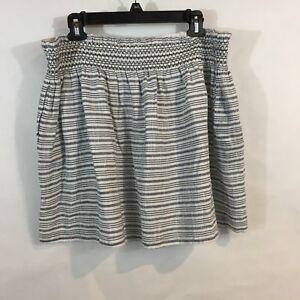 d8c212885 Caslon Womens XL Skirt Smocked Cotton Blue/White Striped Short Beach ...