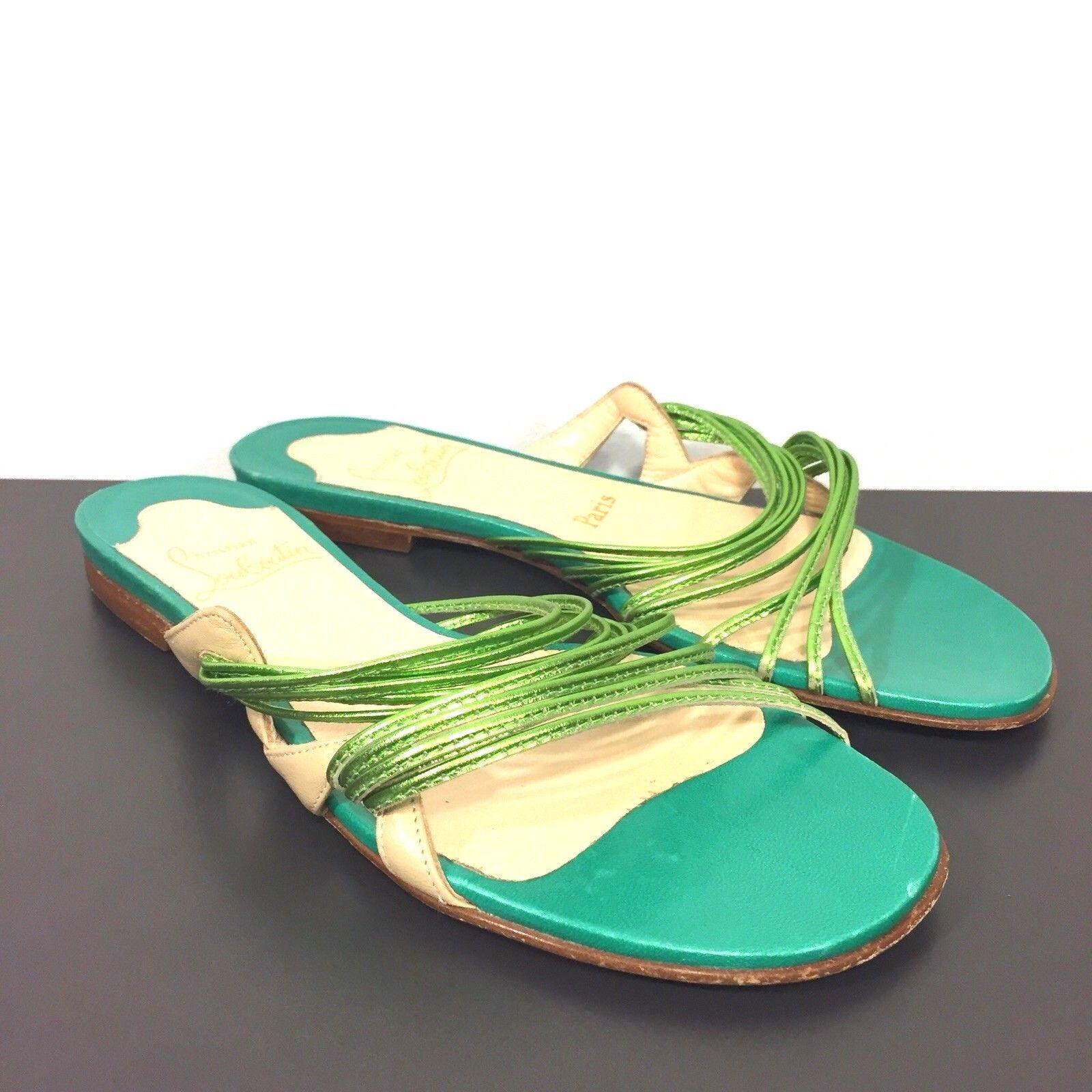 CHRISTIAN LOUBOUTIN Womens Frescobaldi Flat Slip On Sandals Green 37 (MSRP  895)