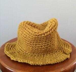 561c10aa8e5c5 HANDMADE Newborn Baby Boy Crochet Knit Fedora Hat   Ginger Yellow ...