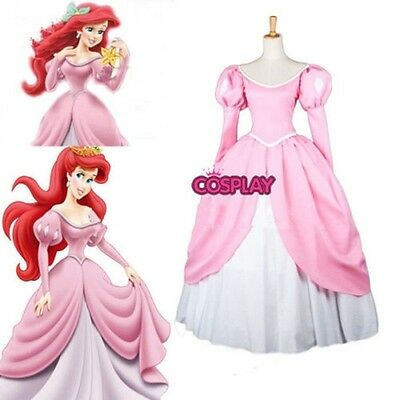 Disney Princess Mermaid princess Ariel Pink Lovely Dress Cosplay Made Costume