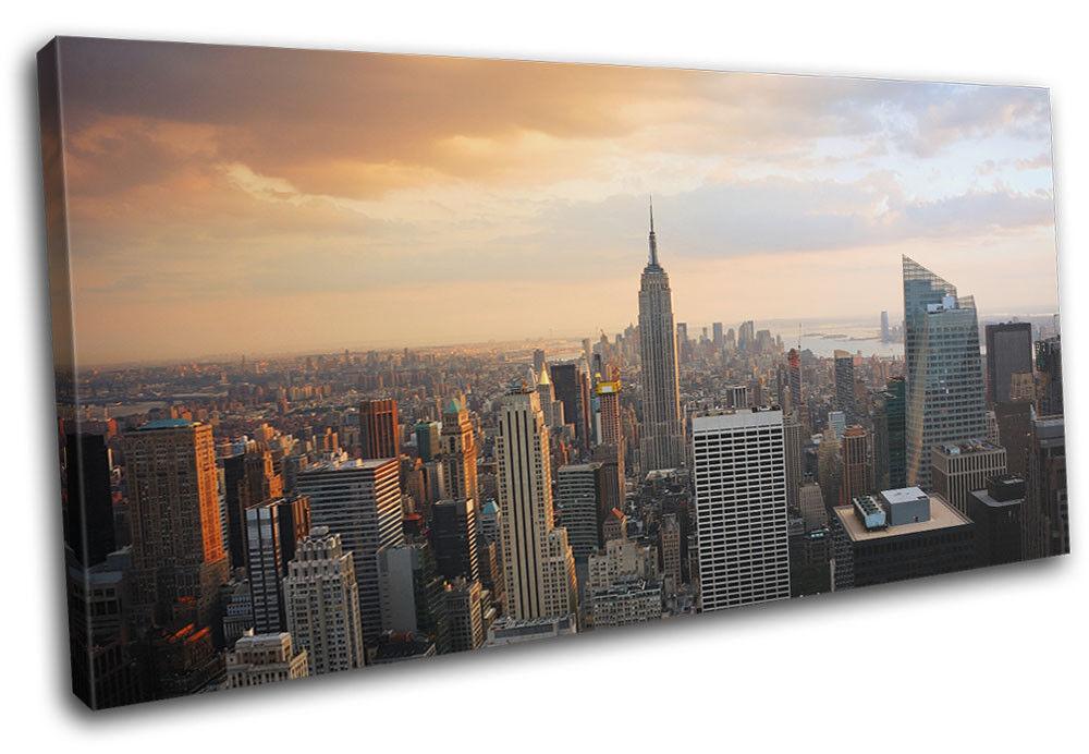 New York Skyline USA City SINGLE Leinwand Wand Kunst Bild drucken