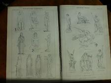1874 ENGRAVING SCULPTURE - VARIETIES Egyptian ETRUSCAN Persian & MODERN Gibson