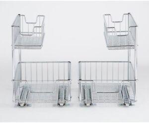 2 Compartiment Coulissante Fil Rangement Organisateur Stockage Sous Evier 2 Pack Ebay