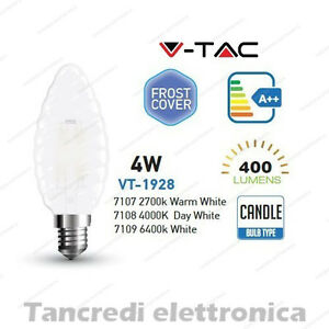 Lampadina-led-V-TAC-4W-E14-VT-1928-candela-cover-bianca-filamento-lampada-opaca