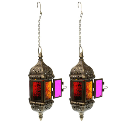 Brown 2PCS Hanging Tea Light Candle Holder Lantern Lamp With Iron Chain