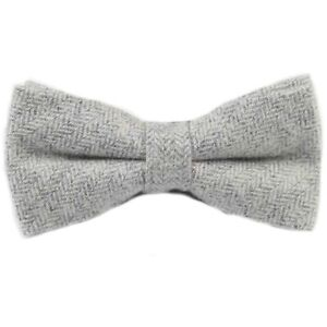 Red Grey New Luxury Mens Dark Grey Bow Tie Solid Knitted Flecked Wool