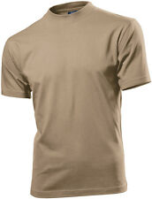 Hanes Mens Mans SAND BEIGE KHAKI Short Sleeve Cotton T-Shirt Tshirt Size Small