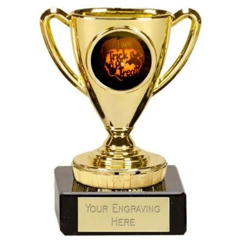 HALLOWEEN TRICK OR TREAT TROPHY GOLD /& SILVER PLASTIC CUP FREE ENGRAVING P021
