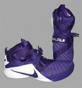 newest 01827 e72f5 Details about NIKE Lebron James Purple ZOOM Soldier 1X TB Dbl Strap  Basketball Shoes M-17 NEW