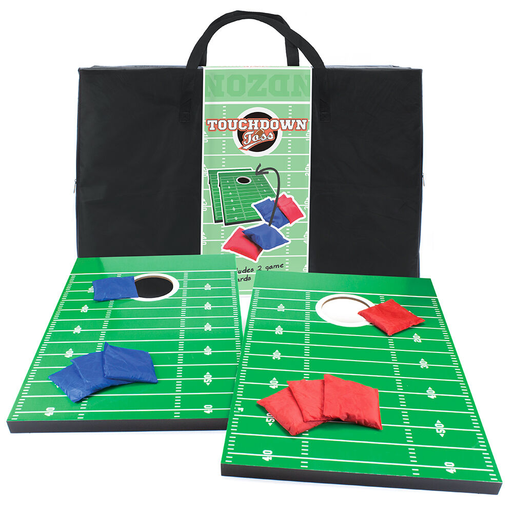 Touchdown Toss Football Field Gridiron  Themed Cornhole Bean Bag Game Set w  Bag  all goods are specials