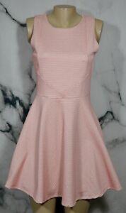GLAM-DOLL-Pink-White-Honeycomb-Pattern-Sleeveless-Fit-amp-Flare-Dress-Medium-Lined
