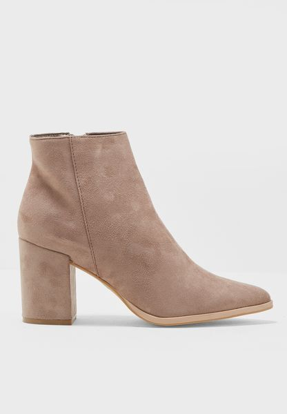 Truffle Collection Ladies Faux Suede Ankle Boots - Taupe - Sizes 6-8