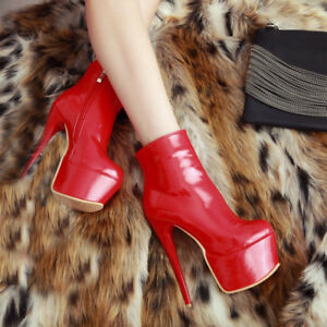 Sexy-Women-Ankle-Boots-Platform-Round-Toe-Heels-Boots-Black-Red-Shoes-for-Woman