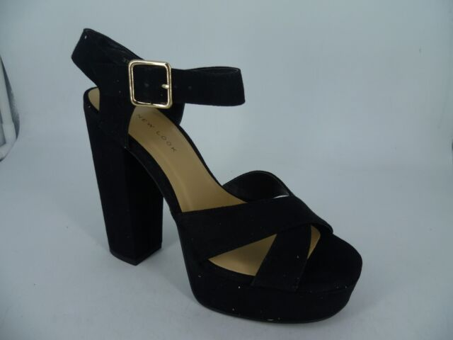 order search for newest hot-selling latest New look Wide Fit Black Suedette Platform Sandals UK 5 EU 38 LN092 YY 03