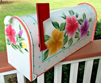 Hand Painted Mailbox Free Shipping Post Mount Colorful Hibiscus Flowers