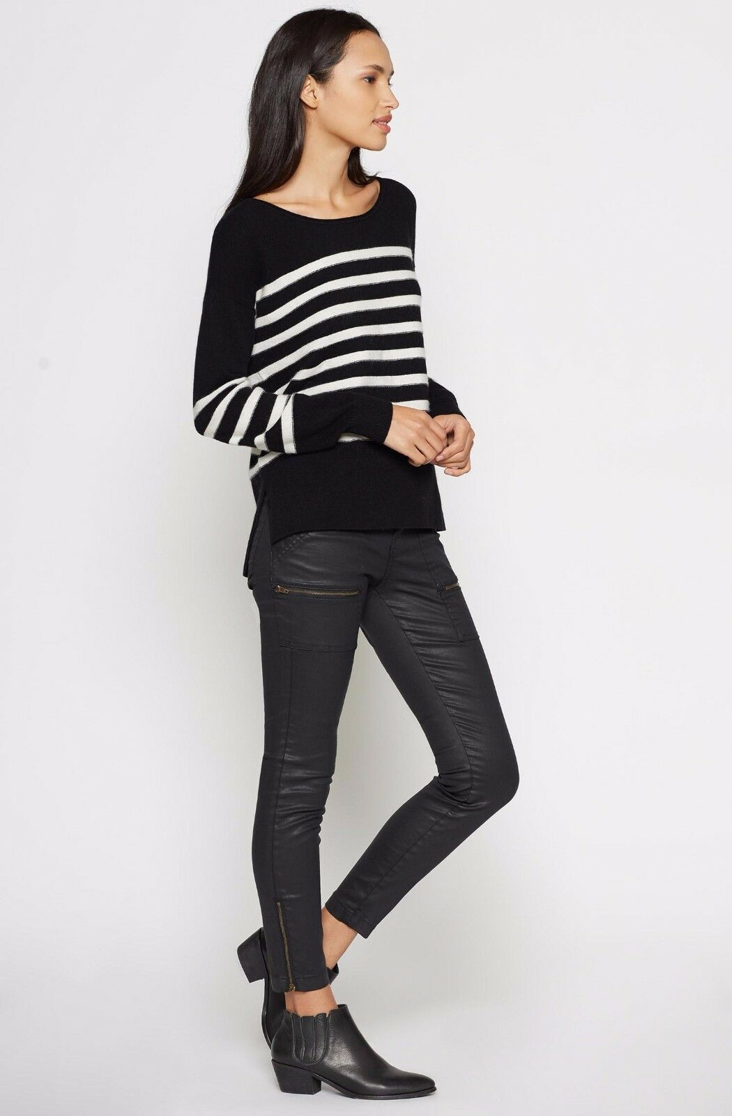 NEW Joie Simonne Stripe Wool & Cashmere Sweater- Caviar size M