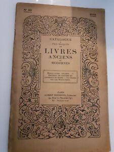 Catalogue Di Libri Antichi E Moderno N° 85 1930 Libreria Albert Besombes