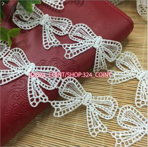 1 Yard Delicate Polyester Embroidered Bowknot Lace Sewing Trim Dress Craft HB131