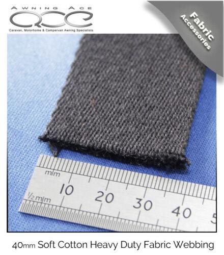 40mm Soft Cotton Heavy Duty Black Webbing Sold Per Metre