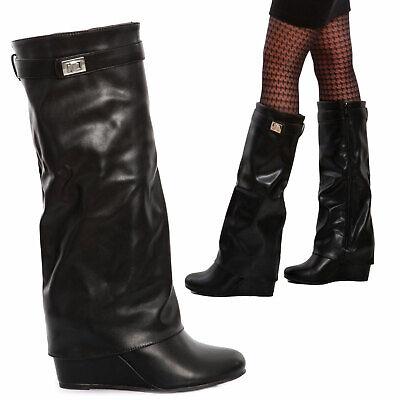 Stivali al ginocchio donna scarpe stivaletti eco pelle tacco