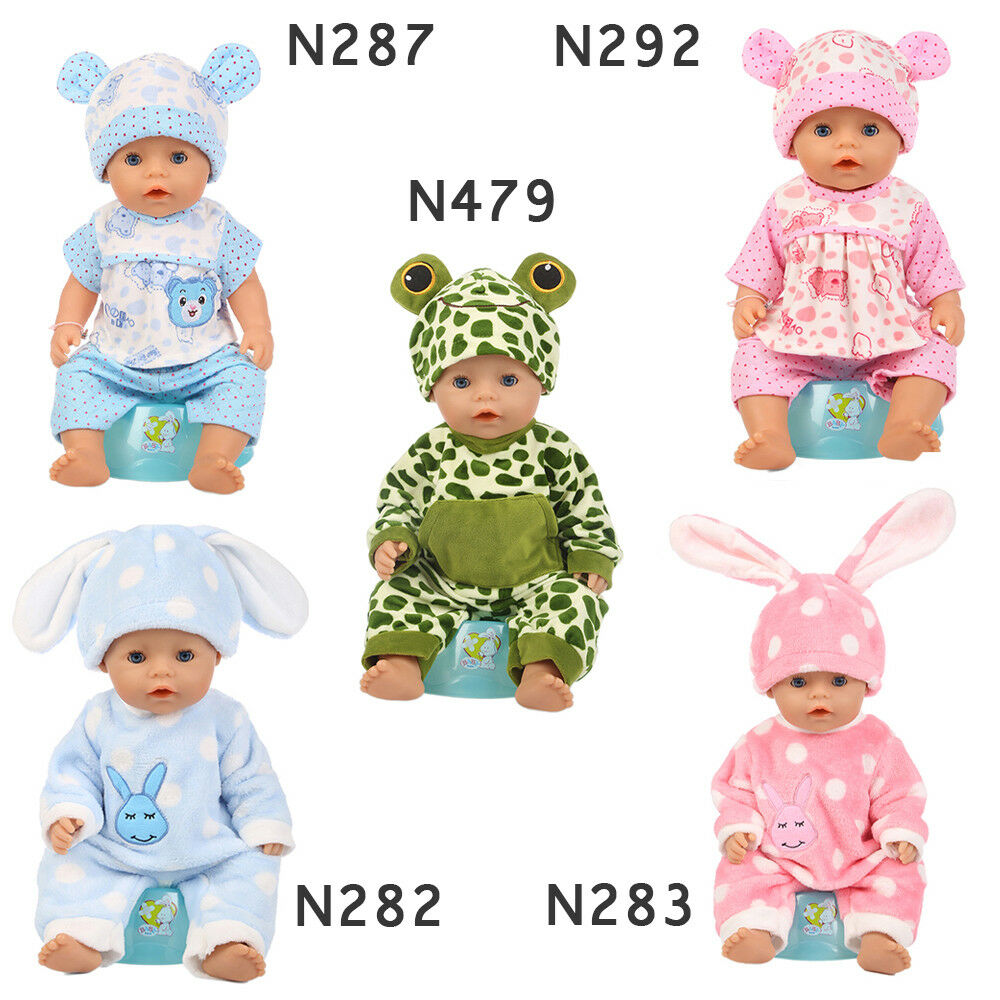 Baby Born Doll Clothes Fit 17inch Zapf Dolls Sleeping Jumpsuit Suit Doll Pajamas 2